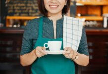 Waitress with coffee cup